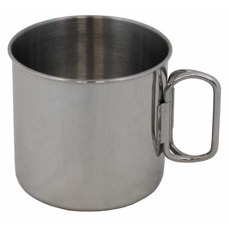 Cup, stainless steel, folding handles, 450 ml