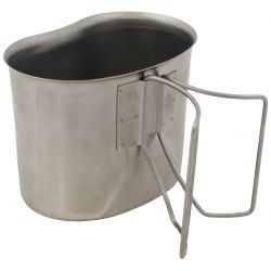 Canteen cup, stainless steel, folding handles