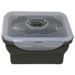 Lunch box, foldable, olive, 1 l, with lid, silicone
