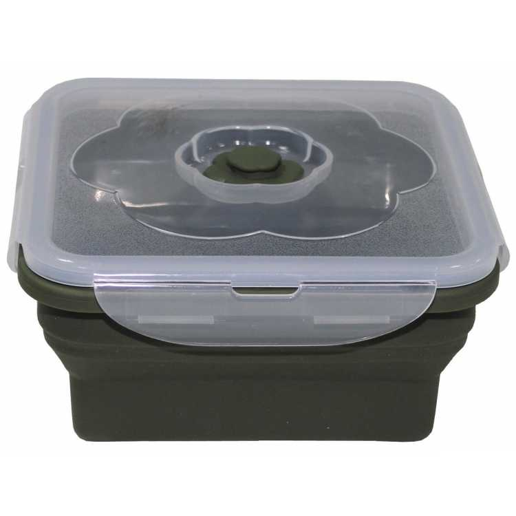 Lunchbox, faltbar, oliv, 1 l, mit Deckel, Silikon
