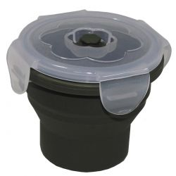 Lunch box, foldable, olive, 240 ml, with lid, silicone