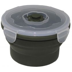 Lunch box, foldable, olive, 540 ml, with lid, silicone