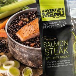 Adventure Menu - salmon steak with lentil ragout