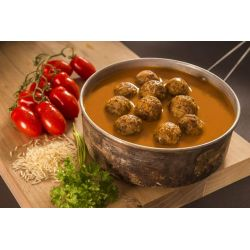 Meatballs with basmati rice and tomato sauce - Adventure Menu