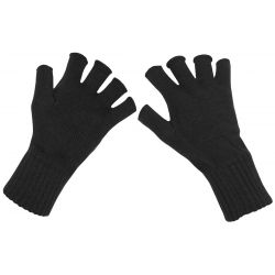 Knitted gloves, black, without fingers